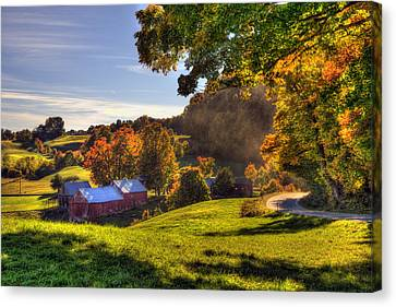 Red Barn In Autumn - Jenne Farm Canvas Print by Joann Vitali