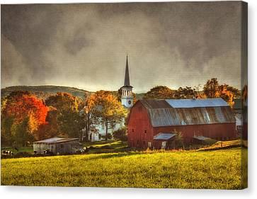 Red Barn In Fall - Peacham Vermont Canvas Print by Joann Vitali