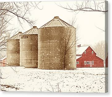 Red Barn In Snow Canvas Print by Marilyn Hunt