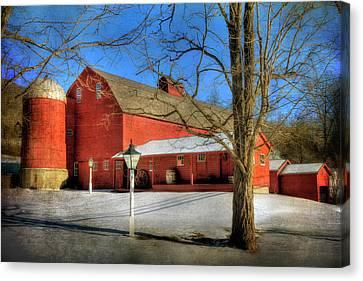 Red Barn In Snow - Vermont Farm Canvas Print by Joann Vitali