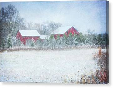 Red Barn In Winter At Retzer Nature Center  Canvas Print by Jennifer Rondinelli Reilly - Fine Art Photography
