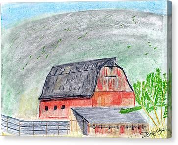 Red Barn Canvas Print by John Hoppy Hopkins