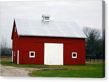 Red Barn- Photography By Linda Woods Canvas Print by Linda Woods