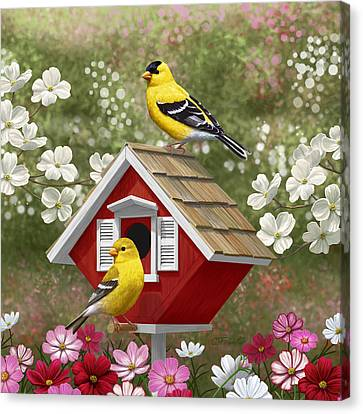 Red Birdhouse And Goldfinches Canvas Print by Crista Forest