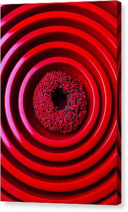 Red Bowls And Donut Canvas Print by Garry Gay