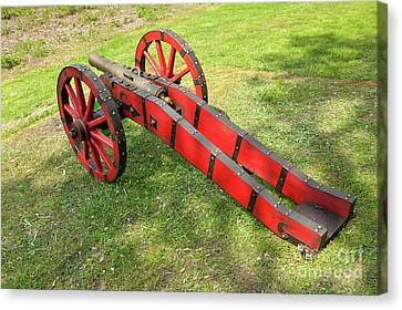 Red Cannon At Swedes Invasion Canvas Print by Arletta Cwalina