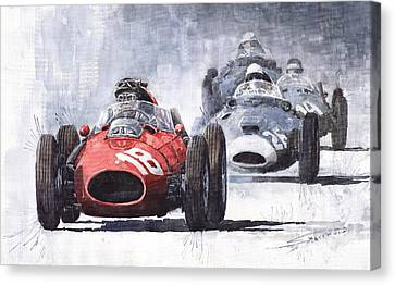 Red Car Ferrari D426 1958 Monza Phill Hill Canvas Print by Yuriy  Shevchuk
