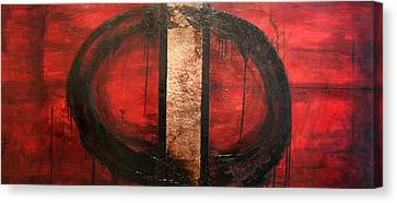 Red Circle Of Life Canvas Print by Ellen Beauregard