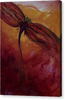Red Dragonfly Canvas Print by Julie Lueders