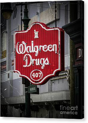 Red Drugs Neon Canvas Print by Perry Webster