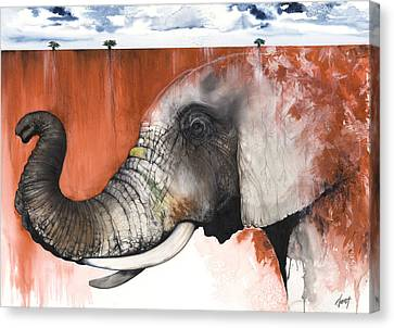 Red Elephant Canvas Print by Anthony Burks Sr