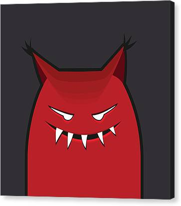 Red Evil Monster With Pointy Ears Canvas Print by Boriana Giormova
