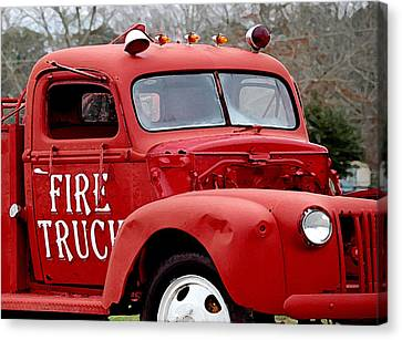 Red Fire Truck Canvas Print by Michael Thomas