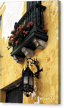 Red Flowers In Cartagena Canvas Print by John Rizzuto