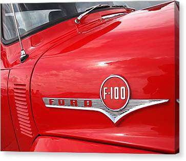 Red Ford F-100 Emblem Canvas Print by Gill Billington