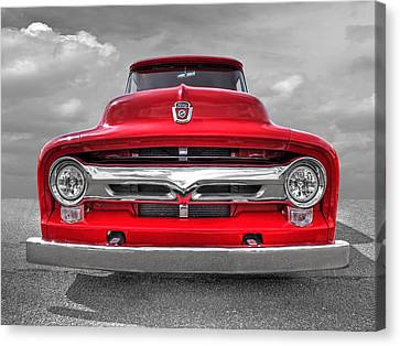 Red Ford F-100 Head On Canvas Print by Gill Billington