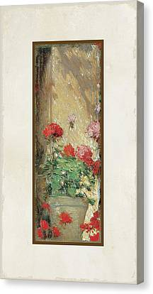 Red Geranium Pots Canvas Print by Audrey Jeanne Roberts