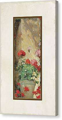 Red Geranium Pots Canvas Print by Audrey Jeanne Roberts