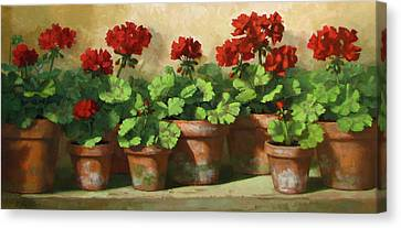 Red Geraniums Canvas Print by Linda Jacobus