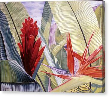 Red Ginger And Bird Of Paradise Canvas Print by Stephen Mack