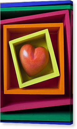Red Heart In Box Canvas Print by Garry Gay
