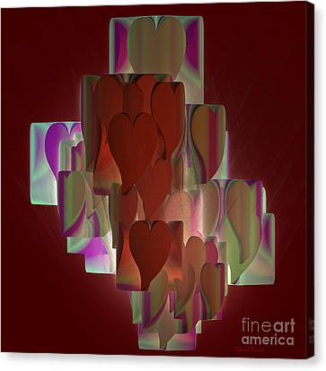 Red Hearts Canvas Print by Deborah Benoit