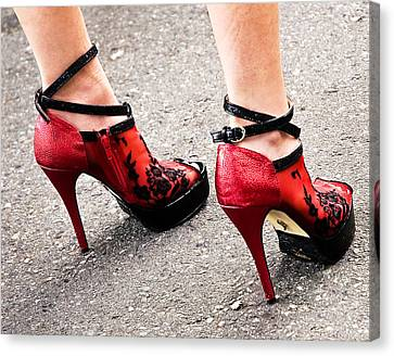 Red Heels Canvas Print by Marion McCristall
