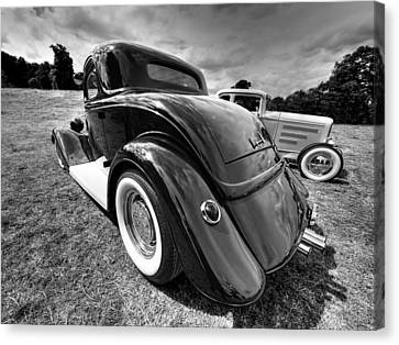 Red Hot Rod In Black And White Canvas Print by Gill Billington