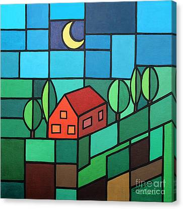 Red House Amidst The Greenery Canvas Print by Jutta Maria Pusl
