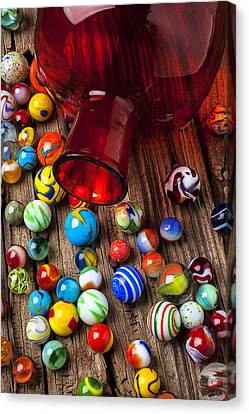 Red Jar With Marbles Canvas Print by Garry Gay