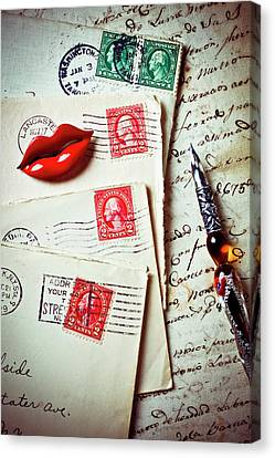 Red Lips Pin And Old Letters Canvas Print by Garry Gay