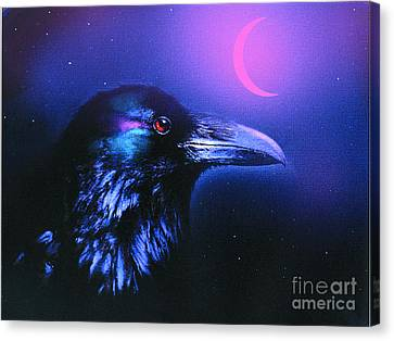 Red Moon Raven Canvas Print by Robert Foster