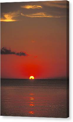 Red Orange Sunset On Horizon Canvas Print by James Forte