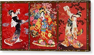 Red Oriental Trio Canvas Print by Haruyo Morita
