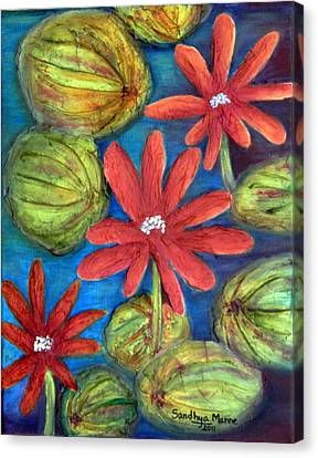 Red Padma- The Lotus Canvas Print by Sandhya Manne