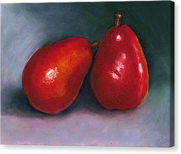 Red Pear Pair Canvas Print by Joyce Geleynse