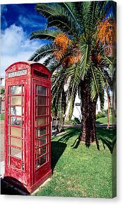 Red Phone Booth Bermuda Canvas Print by George Oze