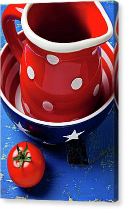 Red Pitcher And Tomato Canvas Print by Garry Gay