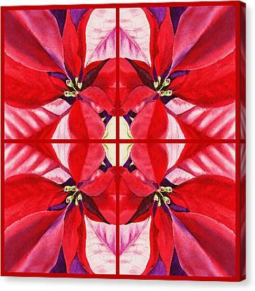 Red Poinsettia Quartet Canvas Print by Irina Sztukowski
