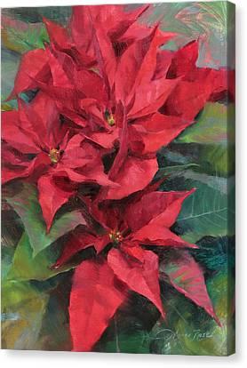 Red Poinsettias Canvas Print by Anna Rose Bain