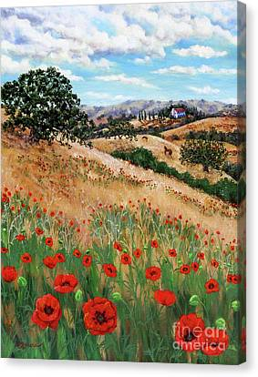 Red Poppies And Wild Rye Canvas Print by Laura Iverson
