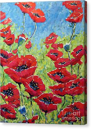 Red Poppies By Prankearts Canvas Print by Richard T Pranke