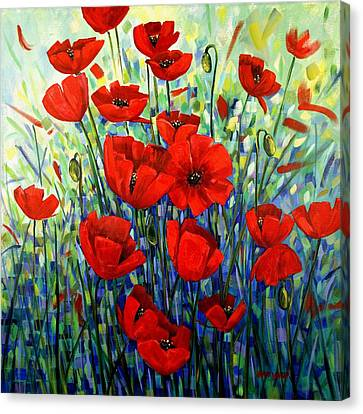 Red Poppies Canvas Print by Georgia  Mansur