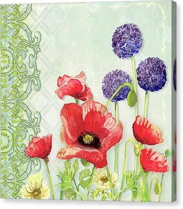 Red Poppy Purple Allium IIi - Retro Modern Patterns Canvas Print by Audrey Jeanne Roberts
