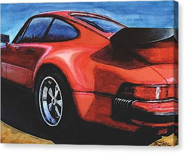 Red Porsche 930 Turbo Canvas Print by Rod Seel