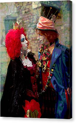 Red Queen And Mad Hatter Canvas Print by Suzanne Powers