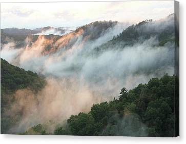 Red River Gorge Kentucky Fog In Mountains At Sunset After A Storm 2 Canvas Print by Design Turnpike