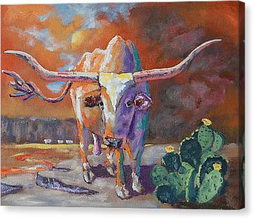 Red River Showdown Canvas Print by J P Childress