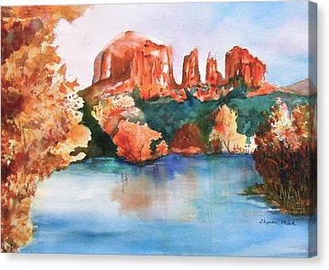 Red Rock Crossing Canvas Print by Sharon Mick
