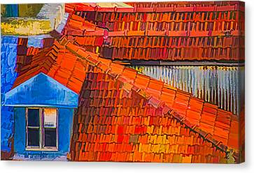 Red Roof Blue Window Canvas Print by Julie Palencia